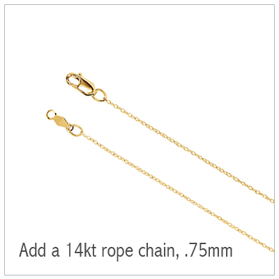 14kt gold rope chain in .75mm.
