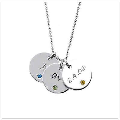 Large Disc Mothers Necklace with names and birthstones-mom necklace