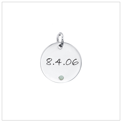 Large disc mothers necklace shown with date and birthstone