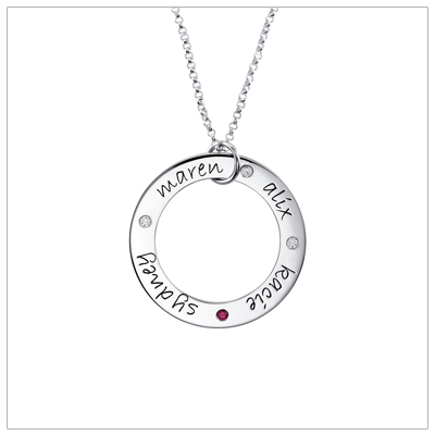4 Birthstone Loop Mom Neckalce with 4 engraved names and 4 birthstones