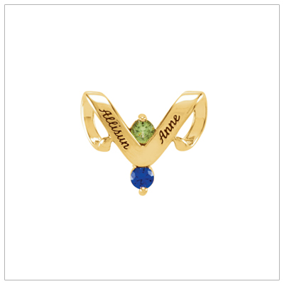 10kt gold personalized jewelry slide for mothers with two birthstones and engraved names.