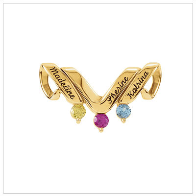 10kt gold personalized jewelry slide for mothers with three birthstones and engraved names.