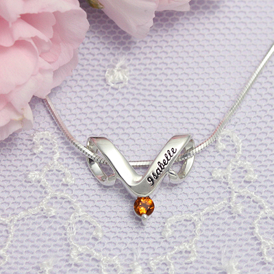 Sterling personalized jewelry slide for mothers with one birthstone and engraved name, shown with chain.
