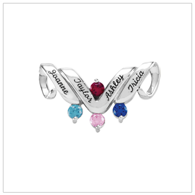 10kt white gold personalized jewelry slide for mothers with four birthstones and engraved names.