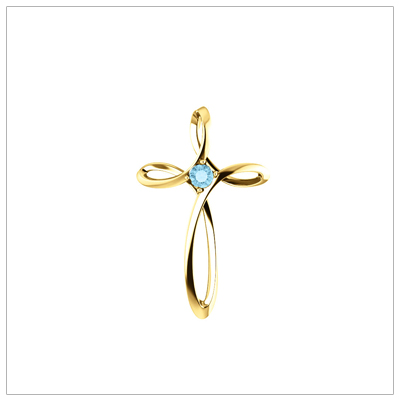 Open Cross shaped 14kt Family Birthstone Mothers Necklace shown with one birthstone.