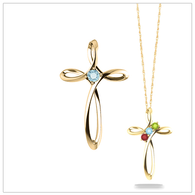 Open Cross shaped 14kt Family Birthstone Mothers Necklace with one to three birthstones.