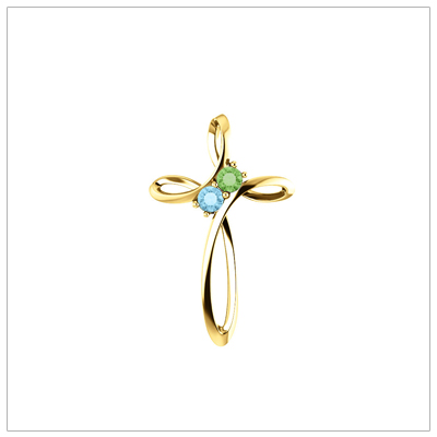 Open Cross shaped 14kt Family Birthstone Mothers Necklace shown with two birthstones.