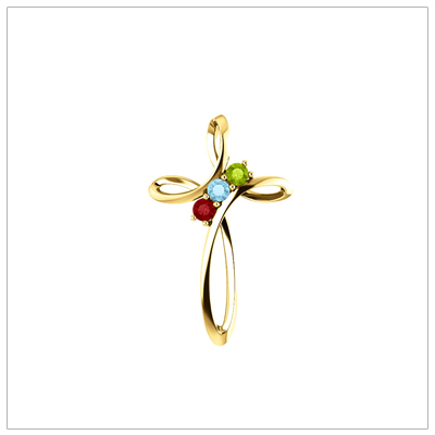 Open Cross shaped 14kt Family Birthstone Mothers Necklace shown with three birthstones.