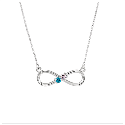 Beautiful mom necklace with two genuine birthstones set in a sterling infinity design.