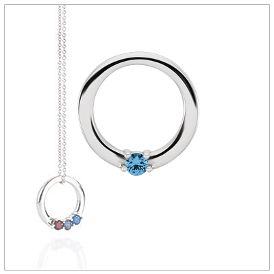10kt white gold circle mothers necklace shown with one genuine faceted birthstone.