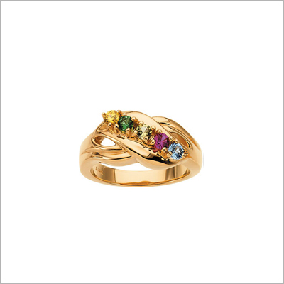 10kt Gold Crossover Mothers Rings - 1370-yellow