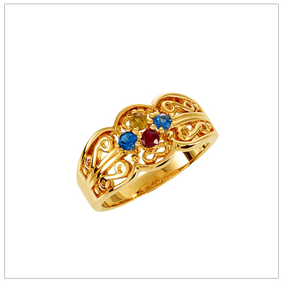 10kt Gold Scroll Pattern Mothers Rings - 1359