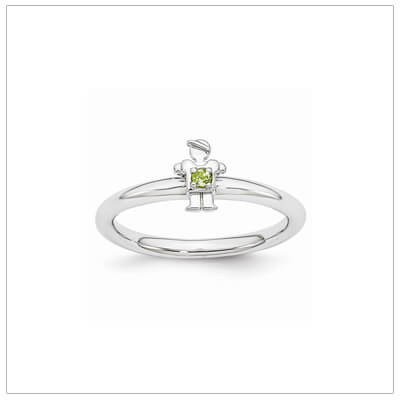 Sterling silver mother ring with a tiny boy on top set with a genuine peridot for August.