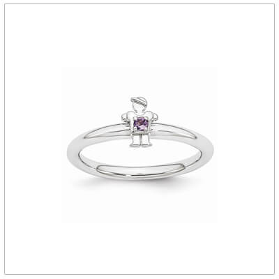 Sterling silver mother ring with a tiny boy on top set with a genuine amethyst for February.