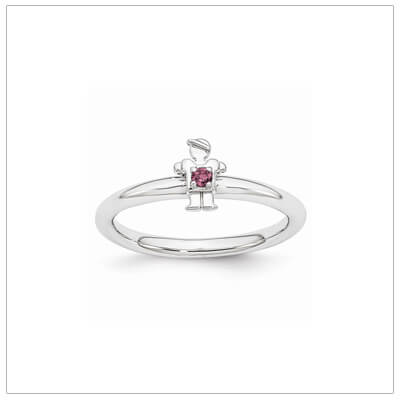 Sterling silver mother ring with a tiny boy on top set with a genuine rhodolite garnet for June.