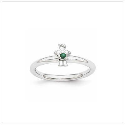 Sterling silver mother ring with a tiny boy on top set with a created emerald for May.