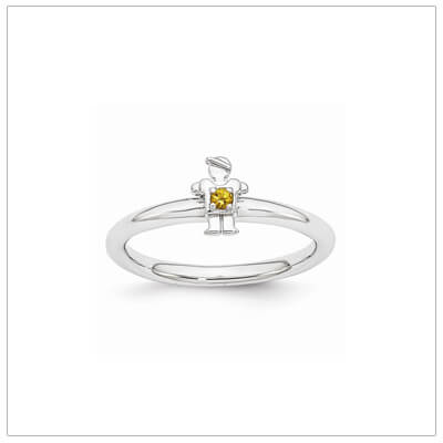 Sterling silver mother ring with a tiny boy on top set with a genuine citrine for November.