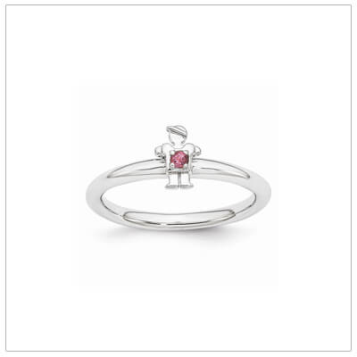 Sterling silver mother ring with a tiny boy on top set with a genuine pink tourmaline for October.