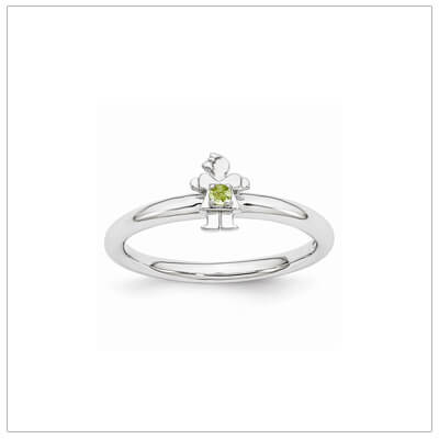 Sterling silver mother ring with a tiny girl on top set with a genuine peridot for August.