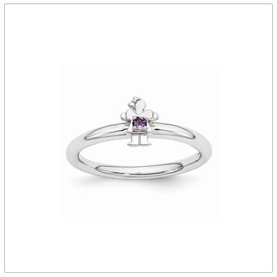 Sterling silver mother ring with a tiny girl on top set with a genuine amethyst for February.