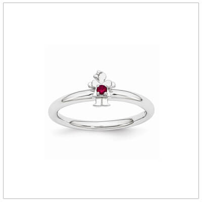 Sterling silver mother ring with a tiny girl on top set with a created ruby for July.