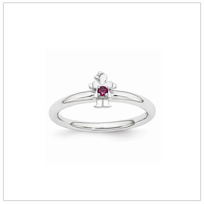 Sterling silver mother ring with a tiny girl on top set with a genuine rhodolite garnet for June.