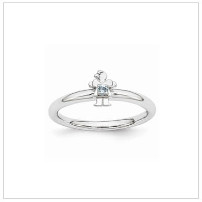 Sterling silver mother ring with a tiny girl on top set with a genuine aquamarine for March.