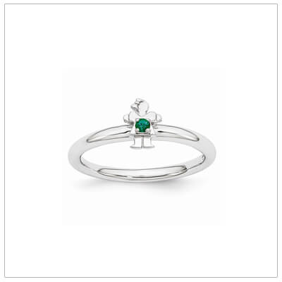 Sterling silver mother ring with a tiny girl on top set with a created emerald for May.