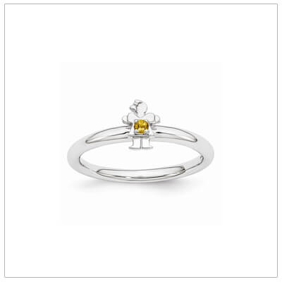 Sterling silver mother ring with a tiny girl on top set with a genuine citrine for November.