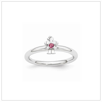 Sterling silver mother ring with a tiny girl on top set with a genuine pink tourmaline for October.