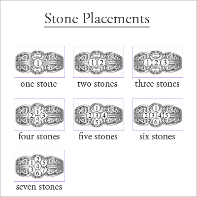 White Gold Scroll Pattern Mothers Rings - 1359-wh