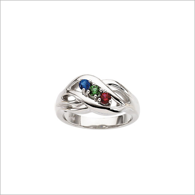Sterling Silver Crossover Mothers Rings - 1369