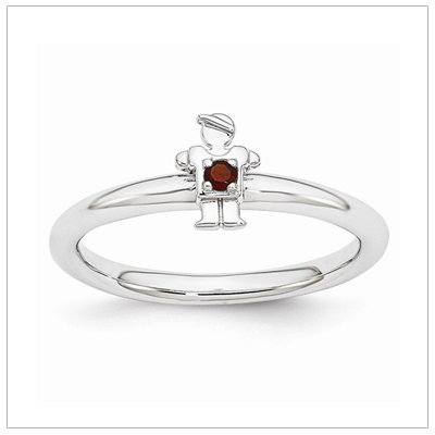 Stackable mothers birthstone ring for January with a tiny boy set with birthstone.