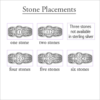 Sterling Scroll Pattern Mothers Rings - 1358