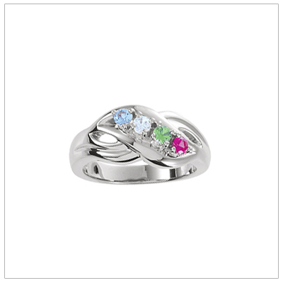 White Gold Crossover Mothers Rings - 1370-wh