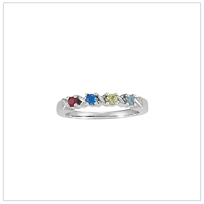 White Gold XO Mothers Rings - 1373-wh