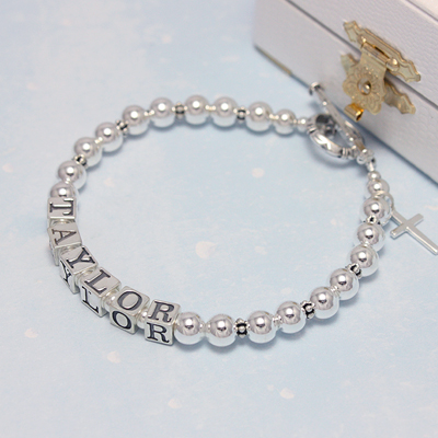 All sterling silver name bracelets in a simple, classic design. These name bracelets are a customer favorite.