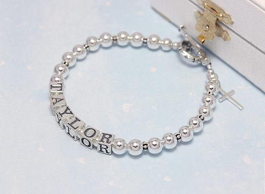 Sterling silver name bracelet for mothers in a classic, simple design.