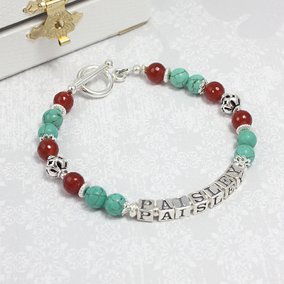 Carnelian and Turquoise Name Bracelets with faceted genuine carnelian and green turquoise