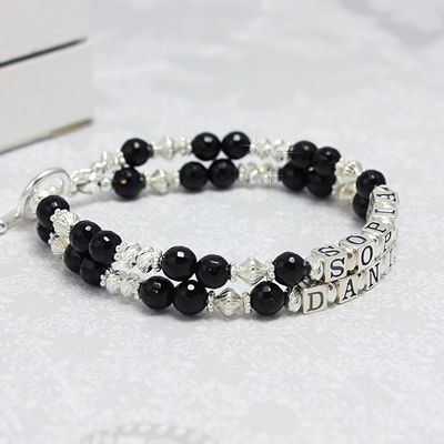 Double strand mothers name bracelets in gorgeous black onyx and diamond cut sterling silver.