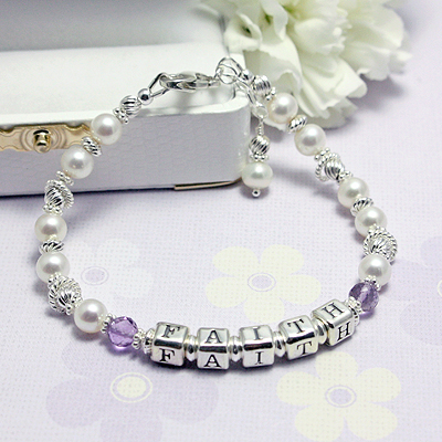Personalized name bracelets in cultured pearls and genuine birthstones. Lovely sterling twist beads.