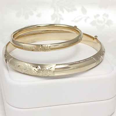 Gold Filled Floral Engraved Bangles, 4.5""
