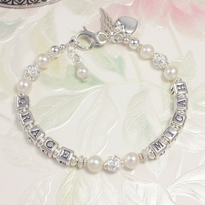 Joyful Mother Personalized Bracelets in cultured pearls and includes two names