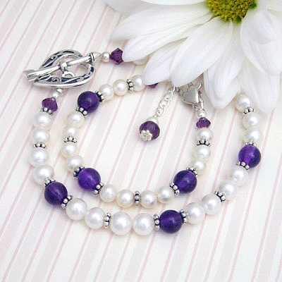Amethyst Mother Daughter Bracelets