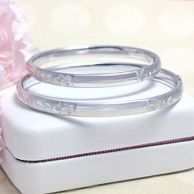 Sterling Engraved Bangles, 4.5 in.