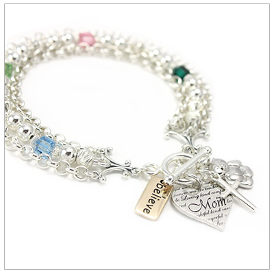 Mothers charm bracelets that include mothers heart charm, 3 free charms, and up to 5 birthstones.