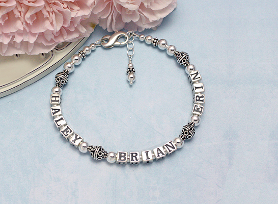 Sterling silver multi-name bracelet for mothers with three names.
