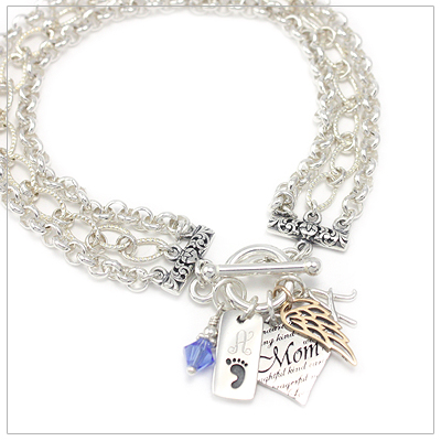 Charm bracelets include mothers heart, 2 engraved charms, birthstone charm, and 1 more charm.