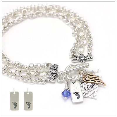 Mothers charm bracelets that include two engraved charms, mothers heart charm, birthstone charm, and one other choice of charms.