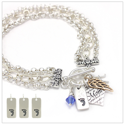 Mothers charm bracelets that include three engraved charms, mothers heart charm, birthstone charm, and one other choice of charms.